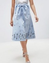 ASOS DESIGN embellished bow front scuba midi prom skirt ~ blue flared party skirts