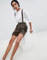 ASOS DESIGN Parachute Ruched Shorts in Khaki