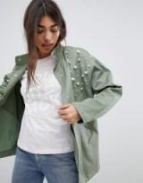 ASOS DESIGN Pearl Jacket in Khaki ~ green embellished jackets