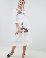 ASOS DESIGN Premium Lace Embroiderd Midi Dress With Open Back / white floral dresses