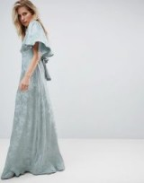 ASOS Maxi Dress with Floaty Sleeve in Soft Floral Jacquard in Sea Green – long vintage style occasion dresses