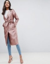 ASOS Satin Mac in Mink ~ luxe style wrap coats