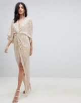 ASOS DESIGN Tall sequin kimono maxi dress – long nude party dresses