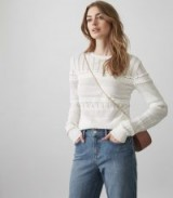 Reiss ASTRID LACE-DETAIL KNITTED JUMPER OFF WHITE ~ crew neck jumpers