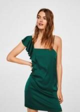 MANGO Asymmetrical satin dress | green slip dresses