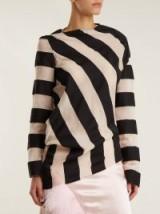 MARQUES'ALMEIDA Asymmetric-hem striped cotton-blend top | bold stripes