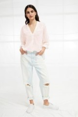 FRENCH CONNECTION AVEA FLEUR LACE SHIRT in BARLEY PINK