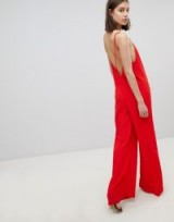 BA&SH Wide Leg Jumpsuit | red strappy low back jumpsuits