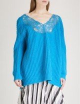 BALENCIAGA V-neck oversized turquoise wool jumper / blue slouchy designer sweaters