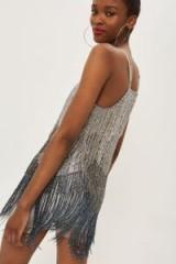 Topshop Bead Fringe Mini Dress | metallic fringed slip dresses