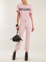 OFF-WHITE Pink Belted straight-leg cropped jeans