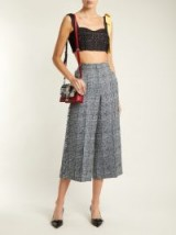 ERDEM Beth checked frayed-edged cropped trousers – Prince of Wales check