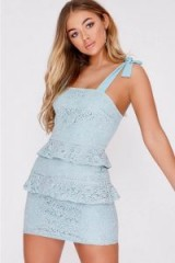 BILLIE FAIERS MINT LACE FRILL DETAIL MINI DRESS – tie strap party dresses