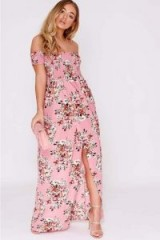 BILLIE FAIERS PINK FLORAL BARDOT MAXI DRESS – long off the shoulder party dresses
