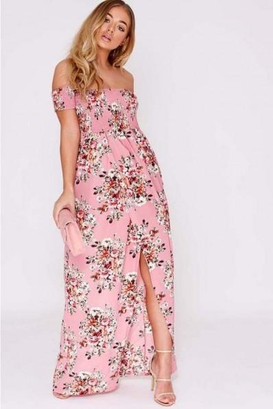 BILLIE FAIERS PINK FLORAL BARDOT MAXI DRESS – long off the shoulder party dresses