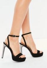 Missguided black diamante platform heeled sandals – embellished platforms