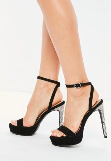 Missguided black diamante platform heeled sandals – embellished platforms - flipped