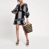 River Island Black long sleeve embroidered wrap dress – spring/summer tasseled dresses