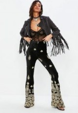 MISSGUIDED black velvet embroidered kick flare trousers | festival flares