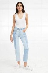 FRENCH CONNECTION Bleach Block Denim High Rise Straight Jeans | patchwork | cropped leg