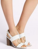 M&S COLLECTION Block Heel Two Band Ring Sandals / white chunky slingbacks / Marks and Spencer shoes