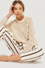 Selected Femme Bobble Knitted Cream Jumper | crew neck sweaters