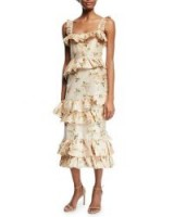 Brock Collection Daria Floral-Print Tiered Taffeta Corset Midi Dress / feminine ruffle trim dresses