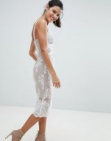 Bronx and Banco Lace Midi Bodycon Dress ~ white fitted cross front party dresses