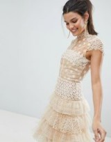 Bronx and Banco Tulle Lace Mini Dress in beige