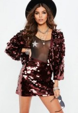 Missguided burgundy large disc sequin mini skirt | shimmering going out skirts