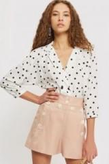 Topshop Pink Button Shorts | retro summer fashion