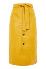 TOPSHOP Button Through Midi Skirt / yellow tie waist skirts