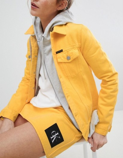 Calvin Klein Jeans Archive Denim Trucker Jacket in Spectra Yellow