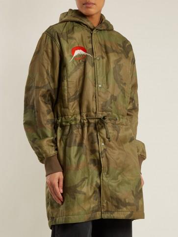 MAHARISHI Camo Hood drawstring-waist quilted parka / camouflage print coats
