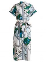 ERDEM Carlita forest-print cotton shirtdress – grandad collar – waist tie shirt dresses