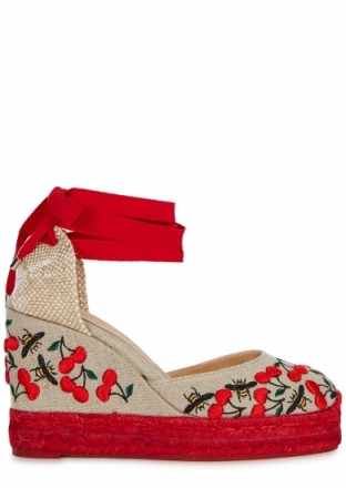 SOPHIA WEBSTER Lucita red and taupe floral espadrille wedge sandals | ankle wrap wedges