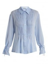 ALTUZARRA Chateau ruched-front blouse | blue front gathered shirts