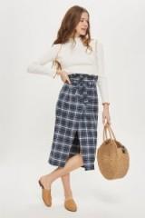TOPSHOP Check Wrap Paperbag Midi Skirt / blue tartan prints