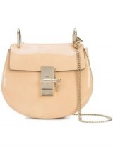 CHLOÉ small Drew nude patent leather shoulder bag.