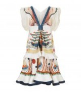 Chloé Surreal Print Tiered Dress ~ ivory fluted dresses