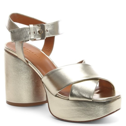ROBERT CLERGERIE Vianne Gold Metallic Chunky Platform Sandals – strappy cross front platforms