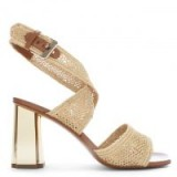 ROBERT CLERGERIE Zorap Beige Raffia Gold Heel Sandals – metallic chunky heels