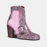 COACH 1941 Western Buckle Bootie in PINK/LILAC / embellished ankle boots