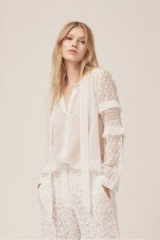 French Connection COMINO PATCHED SHIRT – white frill sleeved shirts