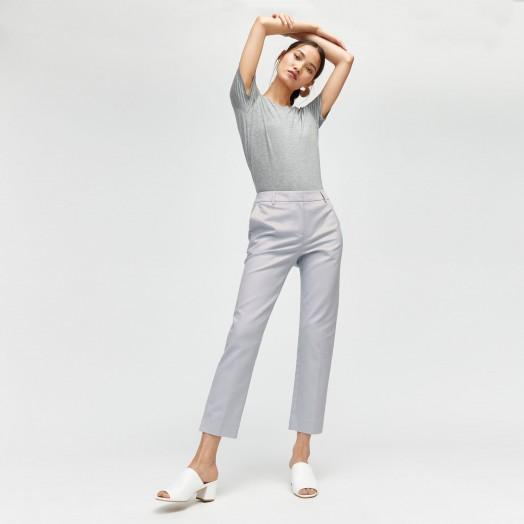 Warehouse COMPACT COTTON TROUSERS in LIGHT BLUE | slim crop leg pants