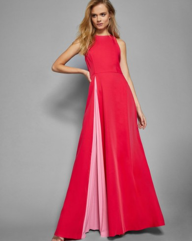 2e91d1961c2e69 TED BAKER MADIZON Contrast pleated panel maxi dress ~ long deep pink  occasion dresses