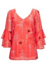 Wallis Coral Floral Print Blouse / ruffle sleeve blouses