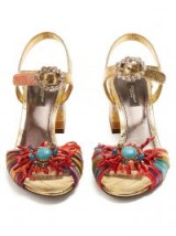 DOLCE & GABBANA Coral-embellished striped sandals ~ beautiful Italian shoes