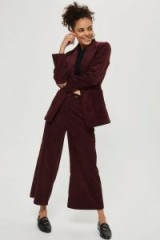 TOPSHOP Corduroy Cropped Wide Leg Trousers – burgundy cords
