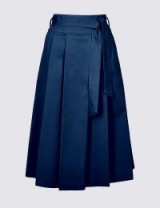 M&S COLLECTION Cotton Rich Belted Full Midi Skirt / navy blue pleated skirts
